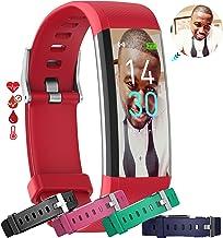 MCNNADI Fitness Tracker [4 Extra Straps] Blood Pressure, Heart Rate, Blood Oxygen, Temperature & Sleep Monitor, Customizab...