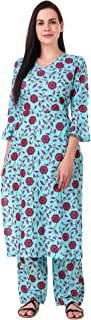 MEVE Readymade 2 Piece Matching Pure Printed Cotton Blue Kurta and Palazzo Set for Women