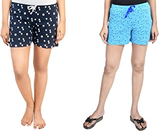 A9- Women Printed Navy Blue, Light Blue Shorts - Pack of 2