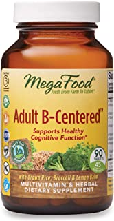 MegaFood, Adult B-Centered, Supports Cognition and Mental Focus, Multivitamin B Complex Supplement with Herbs, Vegan, 90 T...