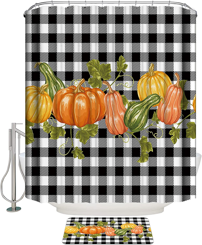 LooPoP 2 Max 82% OFF Pieces Bathroom Set Thanksgiving Thi Free shipping New Pumpkin Watercolor