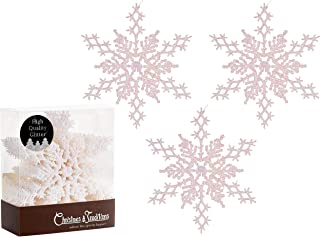 Christmas Traditions 6 inch White Iridescent Glittered Snowflake (Set of 18) Ornaments Hanging Tree Decorations