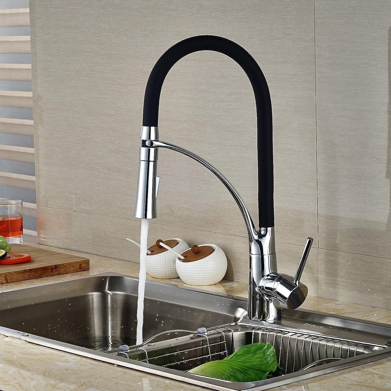 YFF@ILU Schwenkbarer Auslauf chrom Einloch Küche Wasserhahn nach unten ziehen, um die Feldspritze Waschbecken Mischbatterie