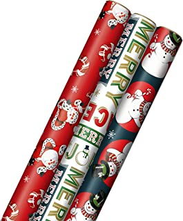Hallmark Vintage Christmas Wrapping Paper Cut Lines on Reverse (3 Rolls: 120 sq. ft. ttl) Dancing Santas, Classic Snowman,...