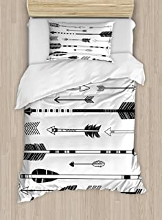 Ambesonne Black and White Decor Duvet Cover Set, Western Themed Shapes Traditional Tribal Culture Print, 2 Piece Bedding Set with Pillow Sham, Twin / Twin XL, Black White