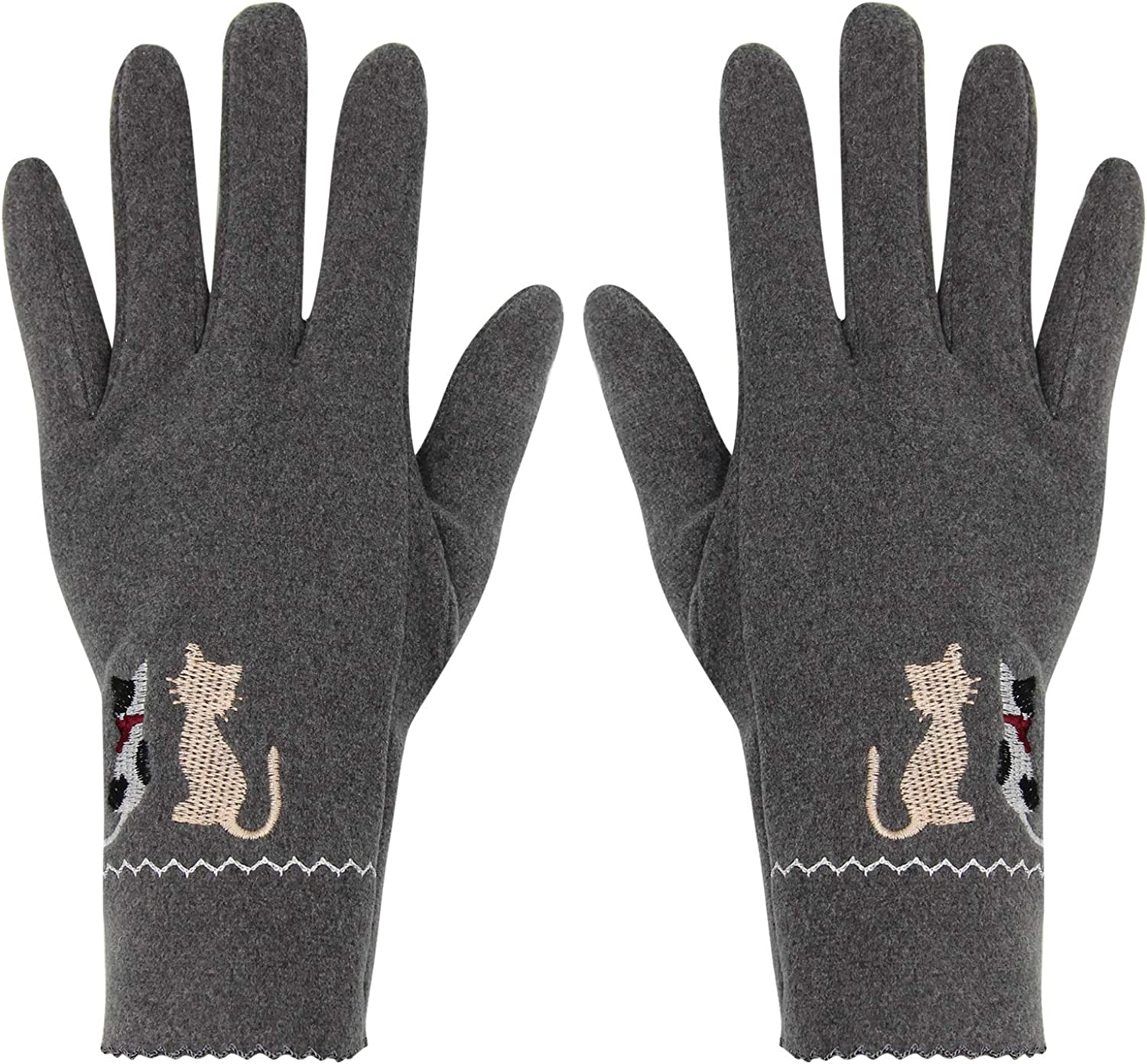 Cute Cat Women's Winter Touch Screen Gloves Full Finger Texting Thermal Mittens