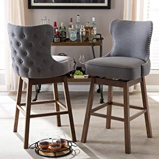 Swivel Bar Stool in Walnut Brown Finish - Set of 2