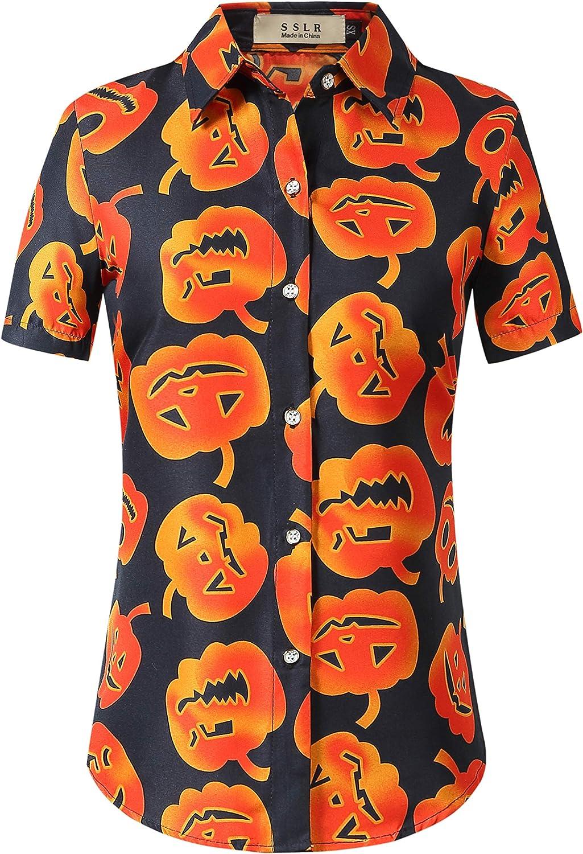 SSLR Womens Button Down Shirt Skeleton Pumpkins Witch Halloween Shirts for Women