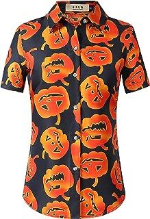 Women's Fun Pumpkins Button Down Short Sleeve Halloween Shirt