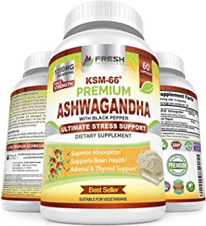 Ashwagandha KSM-66 by Fresh Healthcare, 1200mg Pure and Potent Root Extract Capsules with Natural Black Pepper for High Ab...