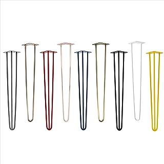 4x Natural Goods Berlin Hairpin Leg tafelpoten, 12 mm staal, vele kleuren, alle maten, 45 cm, 2 stutten, kleur zwart