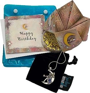Smiling Wisdom - Happy Birthday Moon Fairy Angel Gift Set - Nostalgic Origami Game - Cootie Catcher, Fortune Teller - Moon Angel Necklace, Gold Star Confetti, Birthday Card - Girls, Teens
