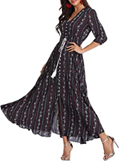 Women's Maxi Dresses Half Sleeves Boho Button Up Split Floral Vintage Party Dress