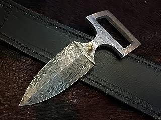 Beautiful Custom Handmade Damascus Steel Hunting Knife. Black Leather Belt, Sword/Chef Kitchen Knife/Dagger/Full Tang/Skinner/Axe/Billet/Cleaver/Bar/Folding Knife/Tactical EDC & Tool/Kukri/Knife