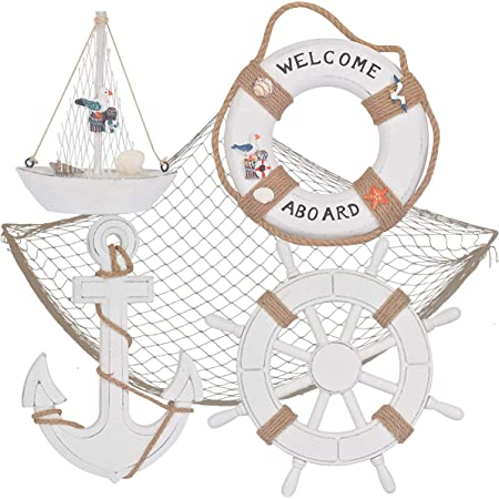 Rustic Life/'s A Beach Sail Boat Mobile with Fish and Anchor Nautical Wooden