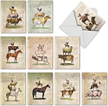 10 Note Cards w/Envelopes, Assorted 'Farm Stand' Blank Greeting Cards, Vintage All Occasion Cards for Birthday, Congratulations, Retirement - Stationery Notecards 4 x 5.12 inch M6595OCB