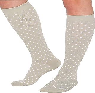 LISH Spot On Wide Calf Compression Socks - Graduated 15-25 mmHg Knee High Polka Dot Plus Size Support Stockings