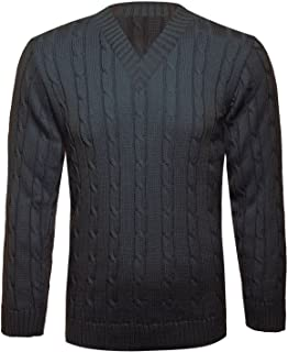Islander Fashions Mens V Neck Chunky Cable Knitted Pullover Jumper Boys Long Sleeve and Sleeveless Warm Winter Sweater (Lo...