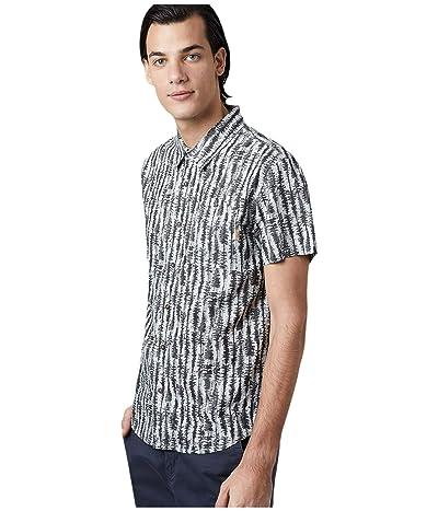 tentree Hemp Short Sleeve Button-Up (High-Rise Grey/Tree Stripe All Over Print) Men
