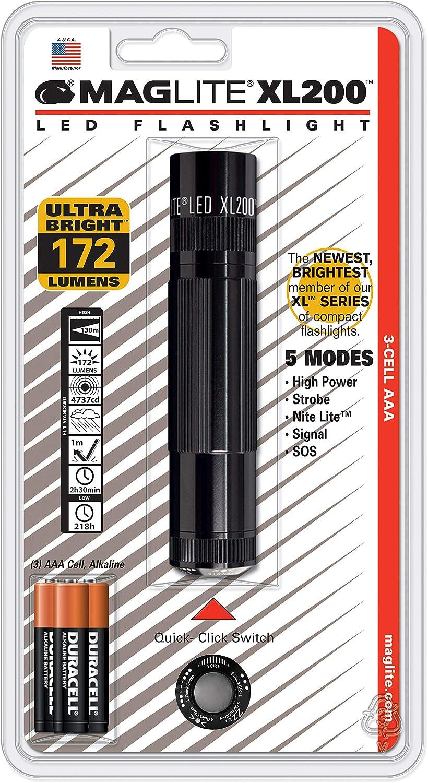 Mag-Lite XL200-S3016 LED-Taschenlampe XL200, 172 Lumen, 12 cm schwarz mit 5 Modi, Motion Control u. elektron. Multifunktionsschalter B005EHL6O8 | Genial