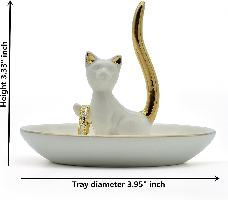 Exembe Happy Cat Posture Ring Holder Jewelry Storage Dish Trinket Tray Decorative Black//Golden Tail