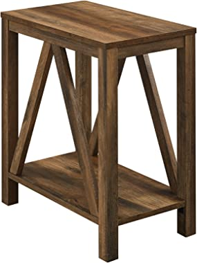 Walker Edison Modern Farmhouse A-Frame Wood Rectangle Side Table Living Room Small End Accent Table, 13 Inch, Rustic Oak