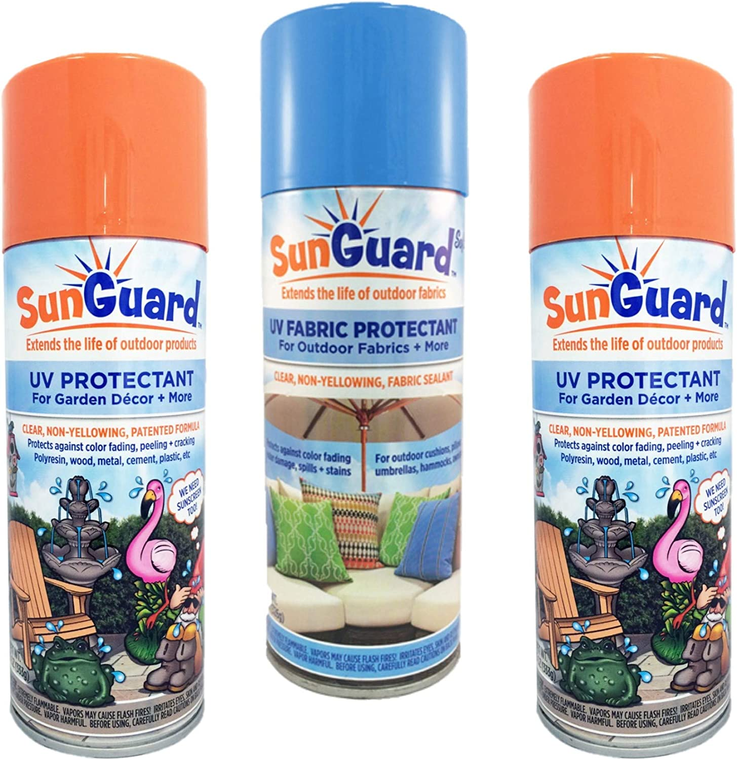 SUNGUARD UV Protectant Spray for Outdoor Decor & Fabric Prevents Fading and More 3-Pack