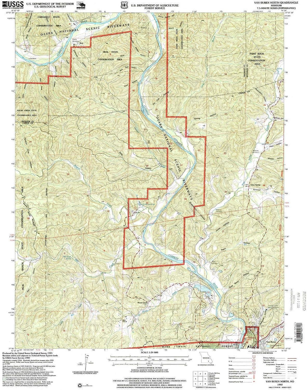 Van Buren North MO topo map, 1 24000 Scale, 7.5 X 7.5 Minute, Historical, 1997, Updated 1999, 26.9 x 22 in