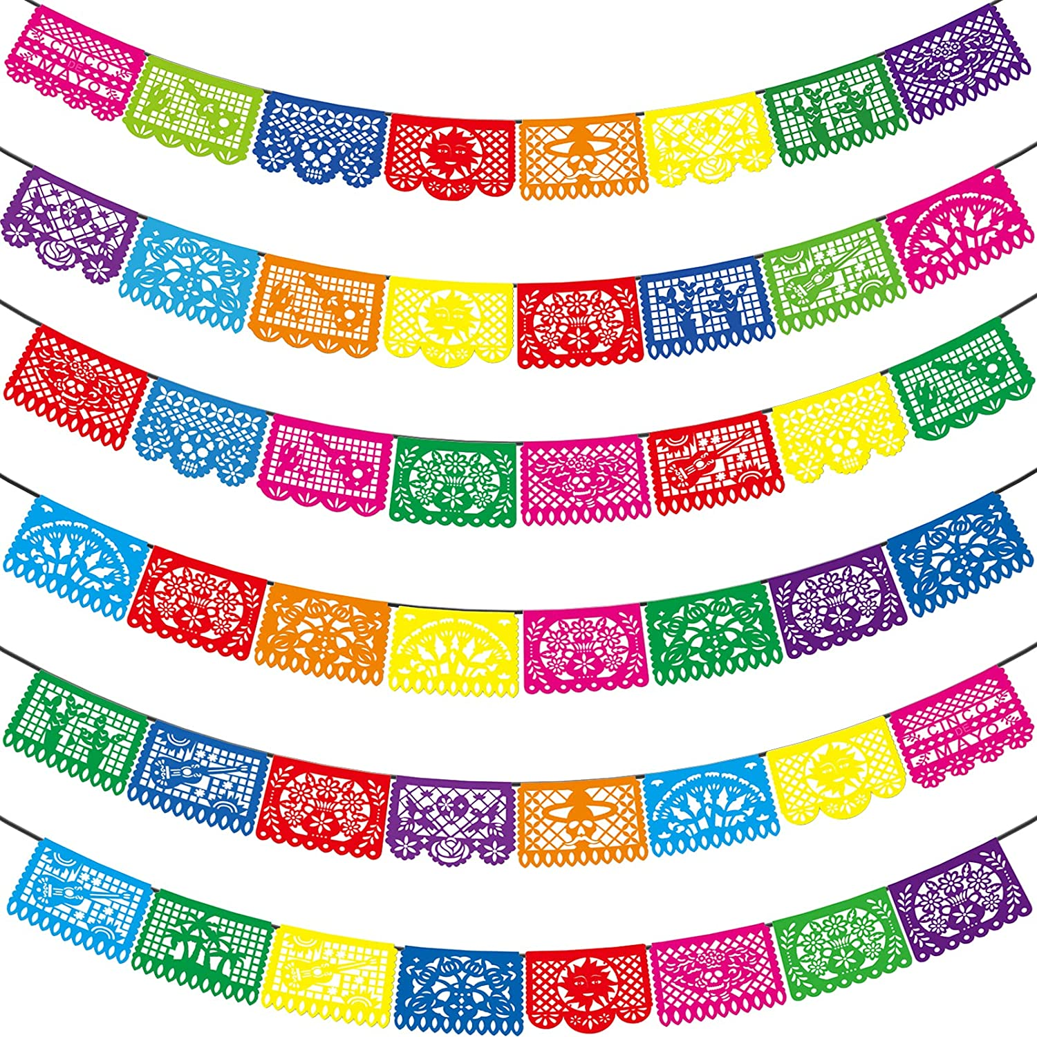 Mexican Party Banners - 6 Pack Fiesta Mexican Party Dia De Los Muertos Day of the Dead Decoration Cino de Mayo Halloween Mexicano Fiesta Party Supplies Plastic Papel Picado Banner -90 Ft & 6 Styles