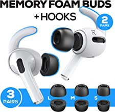 Proof Labs Memory Foam Tips and Ear Hooks Accessories for AirPods Pro (3 Pairs S, M, L Buds, 2 Pairs White Hooks)