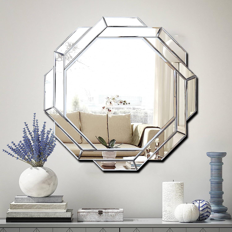 Hlartdecor Helicoid Frameless Beveled Wall Decor Mirror.(Hexagon) Silver Polished Mirror for Wall Decorating(31.5X31.5inches).HFY Hexagon Decorative Mirror.