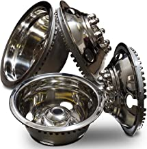 Wheel Simulators Stainless Steel 16-inch (Set of 4) 16in Dually Wheels Simulator - Truck Accessories Best for Pick-up Trucks Vans RV Hub Caps Rim Skin Chrome Cover Parts - Universal Fits 8 Lug, 4 Hole