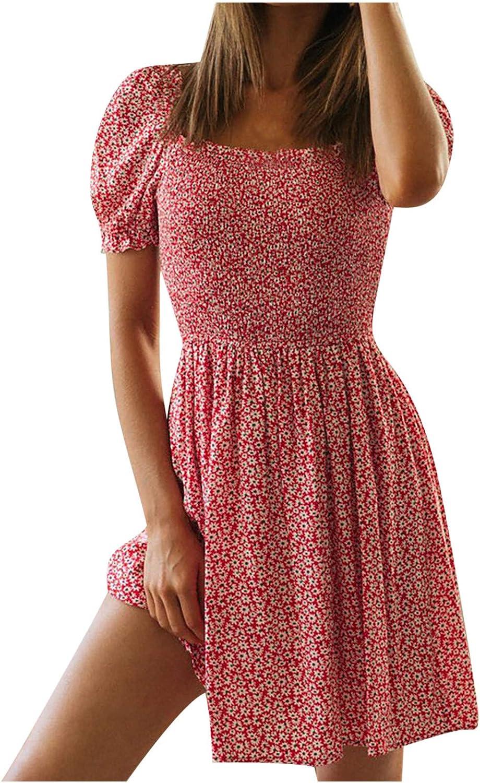 Summer Dresses for Women Square Sleeve Purchase Print Collar Super intense SALE Short