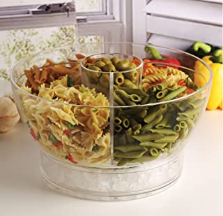 Circleware 10042 Acrylic Cold Bowl Salad Dessert Food Set with Ice Tray Dish 4 Way Divider & Dip Cup, Serving Utensils and Dome Lid Included, 12