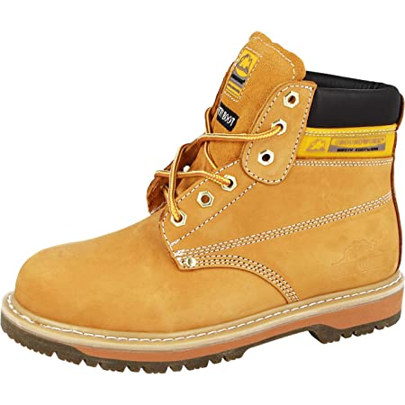 MENS GROUNDWORK SK21 STEEL TOE CAP LACE UP SAFETY WORK BOOT (UK14, honey)