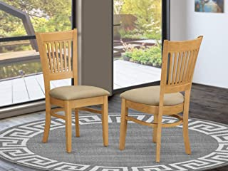 East West Furniture Microfiber Upholstered Seat Dining Chairs, Oak Finish, Set of 2