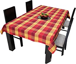 Airwill Cotton Jacquard Dobby Checks with Multicolor Combos of 4/6 Seater Tablecloth, Sized 140cm Width and 140cm Length