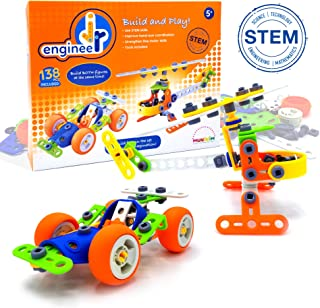 Jr. Engineer - Car & Copter | Junior Educational Stem Learning Construction Set for Boys & Girls 5+ Years | 2-in-1 138Piece Creative Engineer Set (Tools Included), Build Both Simultaneously!