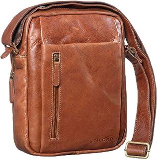 """STILORD Irving"""" Vintage Leder Tasche Braun klein Umhängetasche für 10,1 Zoll und iPad Tablettasche DIN A5 Handtasche Messenger Bag Echtleder"""
