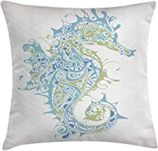Ambesonne Seahorse Throw Pillow Cushion Cover, Sea Animal Creature in a Creative Design Illustration Print, Decorative Square Accent Pillow Case, 20