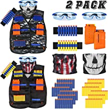 Kids Tactical Vest Kit for Nerf Guns Series with Refill Darts,Dart Pouch, Reload Clips, Tactical Mask, Wrist Band and Protective Glasses for Boys(2 Pack)