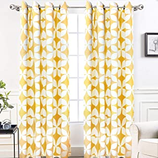 DriftAway Amelia Thermal Blackout/Room Darkening Grommet Window Curtains Retro Geo Pattern Round Circle Star Print Set of 2 Panels Each 52 Inch by 84 Inch Yellow