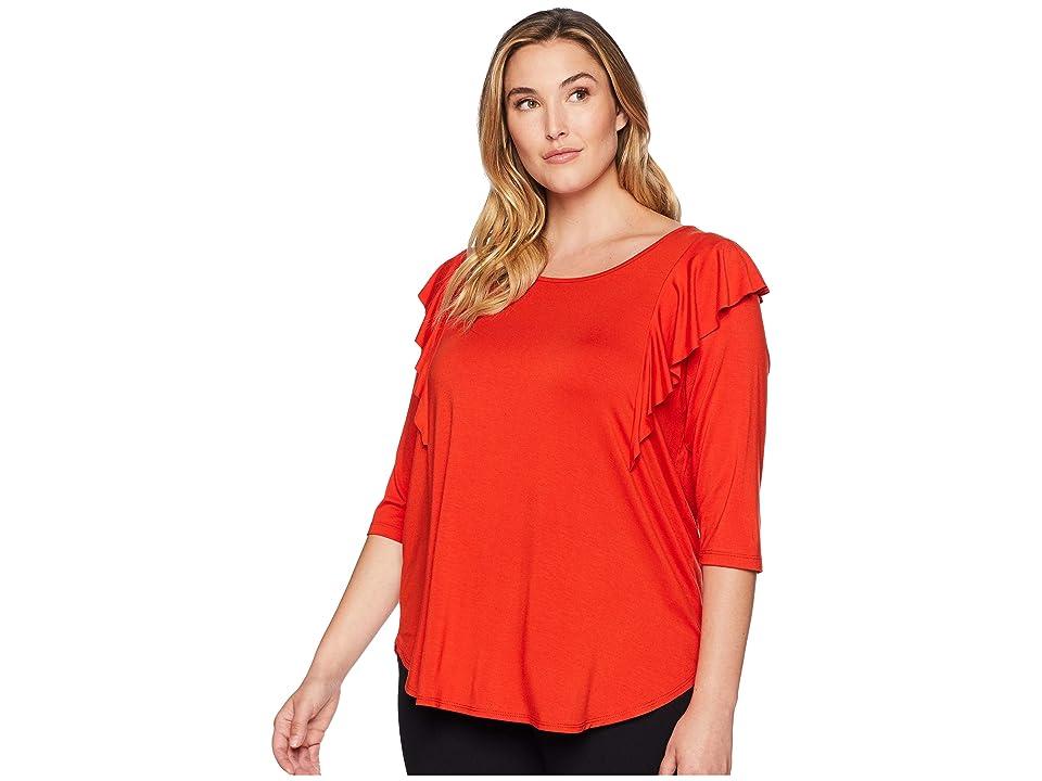 Karen Kane Plus Plus Size 3/4 Sleeve Ruffle Top (Saffron) Women