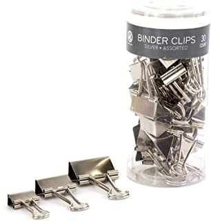 U Brands Binder Clips, Assorted Sizes, Silver Steel, 30-Count (227U06-12)