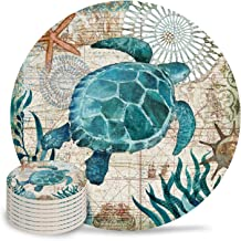 Vandarllin Drink Coasters Sea Turtle Ocean Animal Absorbent Stone Ceramic Coaster with Cork Back and NO Holder for Cups, Set of 8-Piece