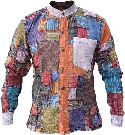 Little Kathmandu - Camisa de algodón, casual, para hombre, diseño de parches, manga larga, sin cuello, para abuelo