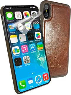 Alston Craig Magnetic Shell Replacement Vintage Leather Case for Apple iPhone X/XS - Brown