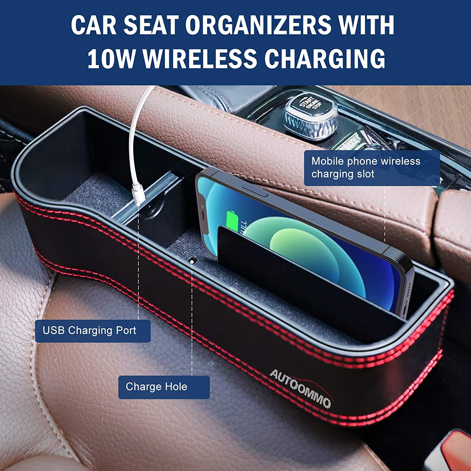 AUTOOMMO 2 Pack Car Seat Gap Organizer with 10W Wireless Charging Car Front Seat Organizer PU Leather Console Side Storage for Phones Wallets Keys Cards Sunglasses Car Seat Gap Filler