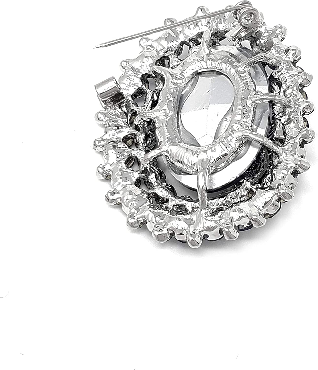 Fashion 21 Women's Elegant Small Size Oval Glass Crystal Double Flower Brooch Pin