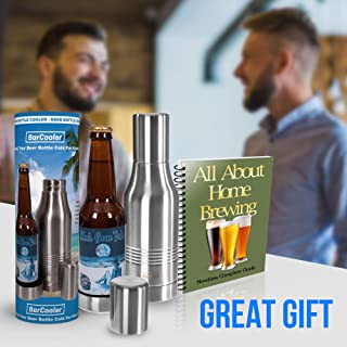 Beer Bottle Cooler - Double Wall Stainless Steel Beer Holder Keeps Your Beer Colder. Great Fathers Day Gift for Beer Lovers ! Fits 12oz Beer Bottles. Includes BONUS E-Book + Gift Box.